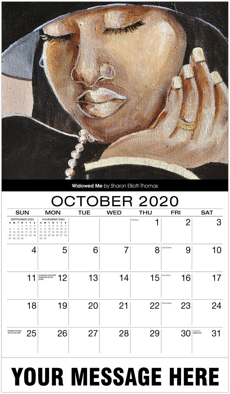 2020 Business Advertising Calendar - Widowed Me By Sharon Elliott-Thomas - October