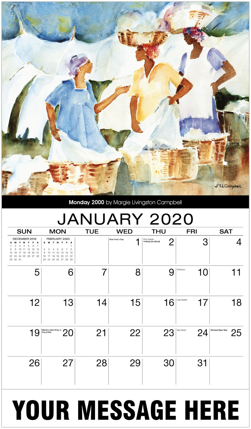 2020 Promotional Calendar - Monday 2000 By Margie Livingston Campbell - January