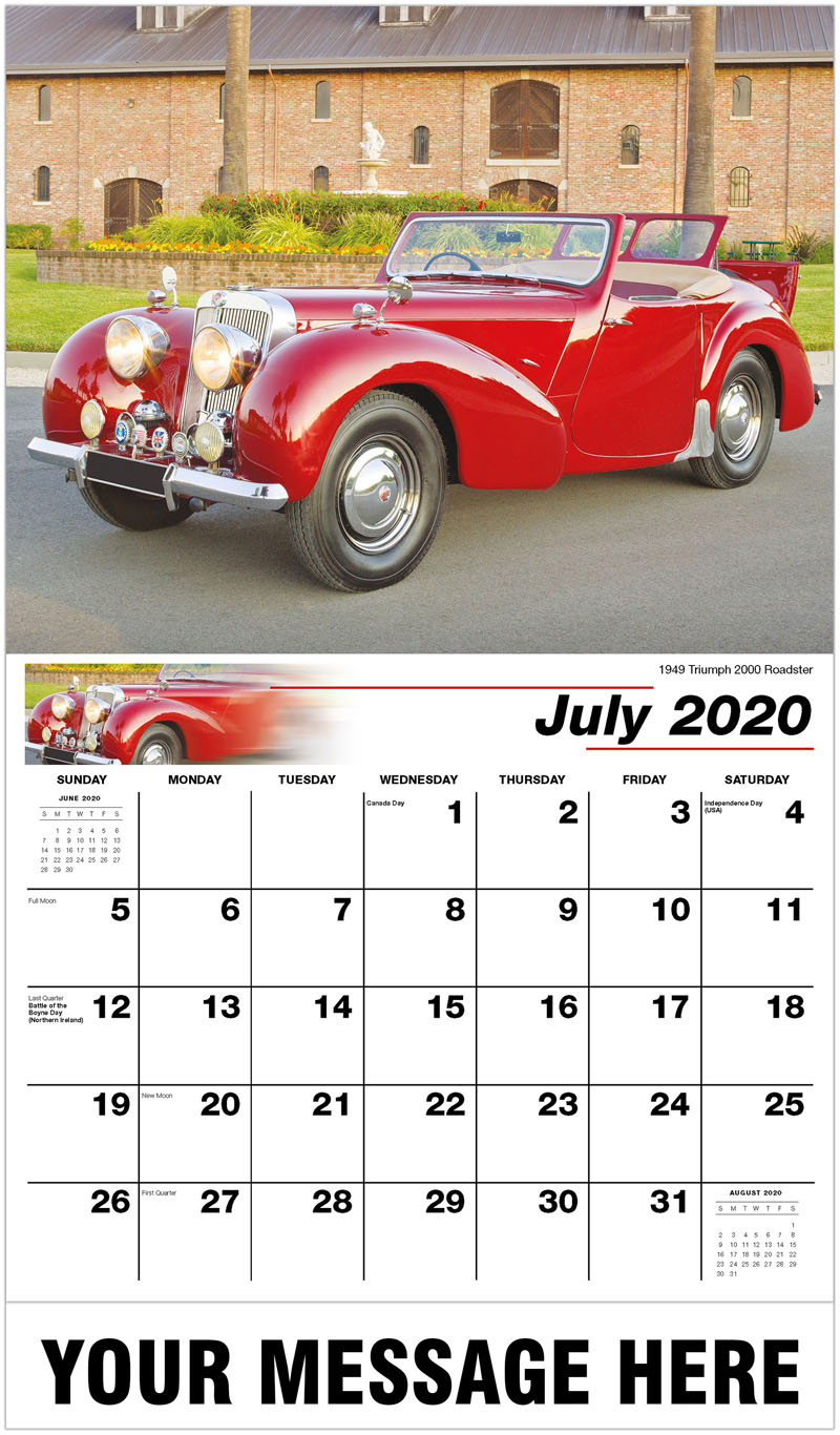 2020 Business Advertising Calendar - 1949 Triumph 2000 Roadster - July