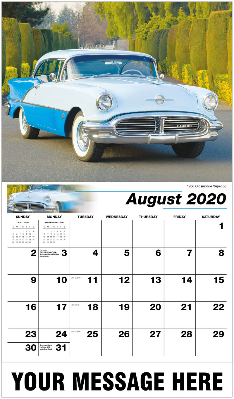 2020 Business Advertising Calendar - 1956 Oldsmobile Super 88 - August
