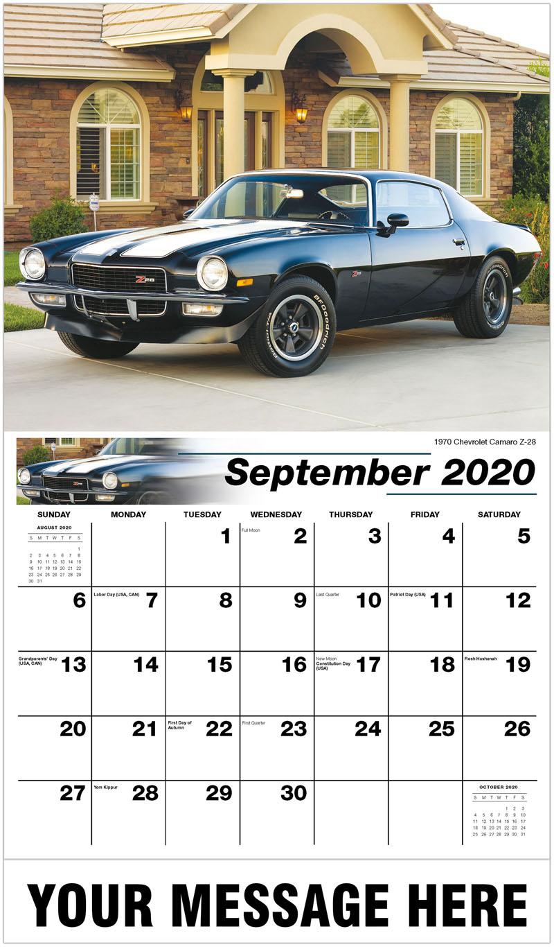 2020 Business Advertising Calendar - 1970 Chevrolet Camaro Z-28 - September
