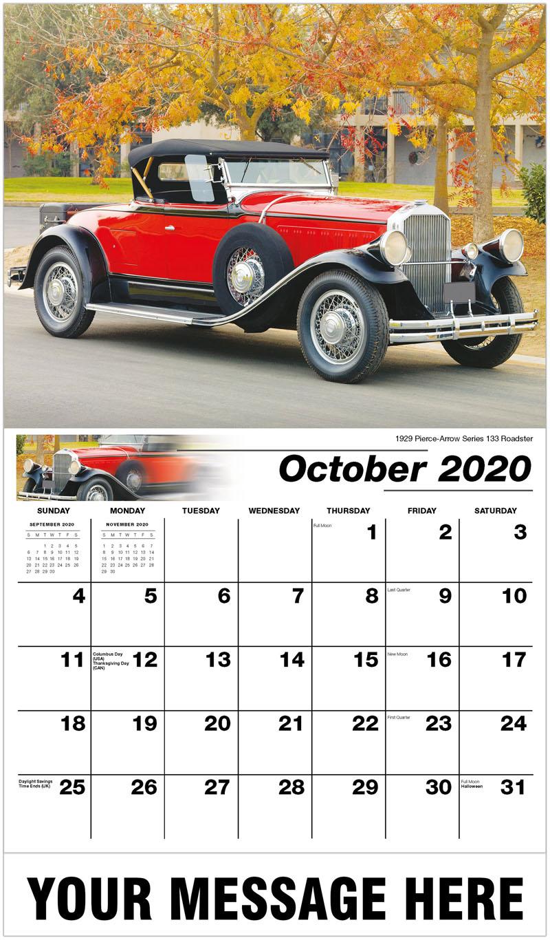 2020 Business Advertising Calendar - 1929 Pierce-Arrow Series 133 Roadster - October