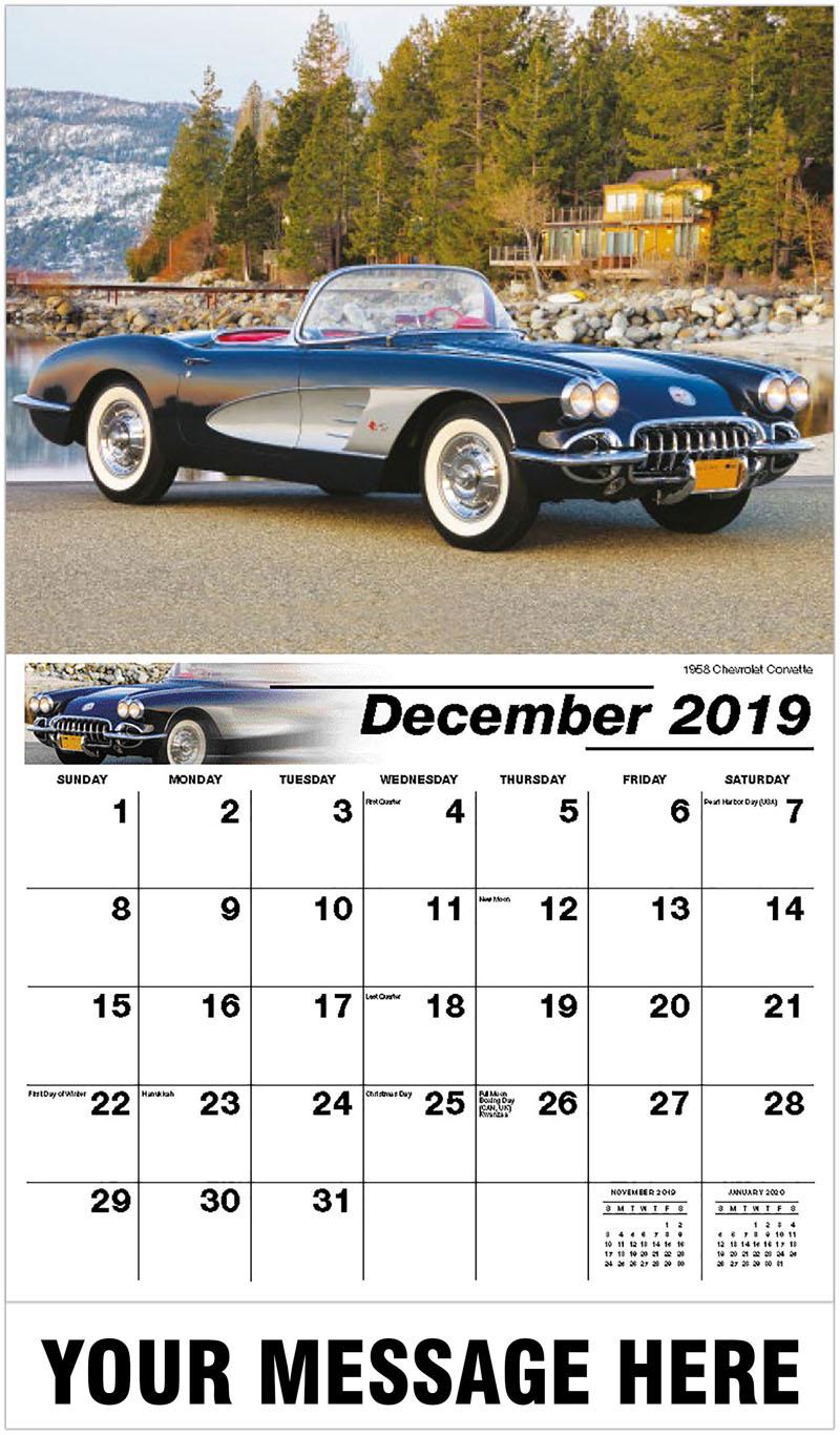 2020 Promotional Calendar - 1958 Chevrolet Corvette - December_2019