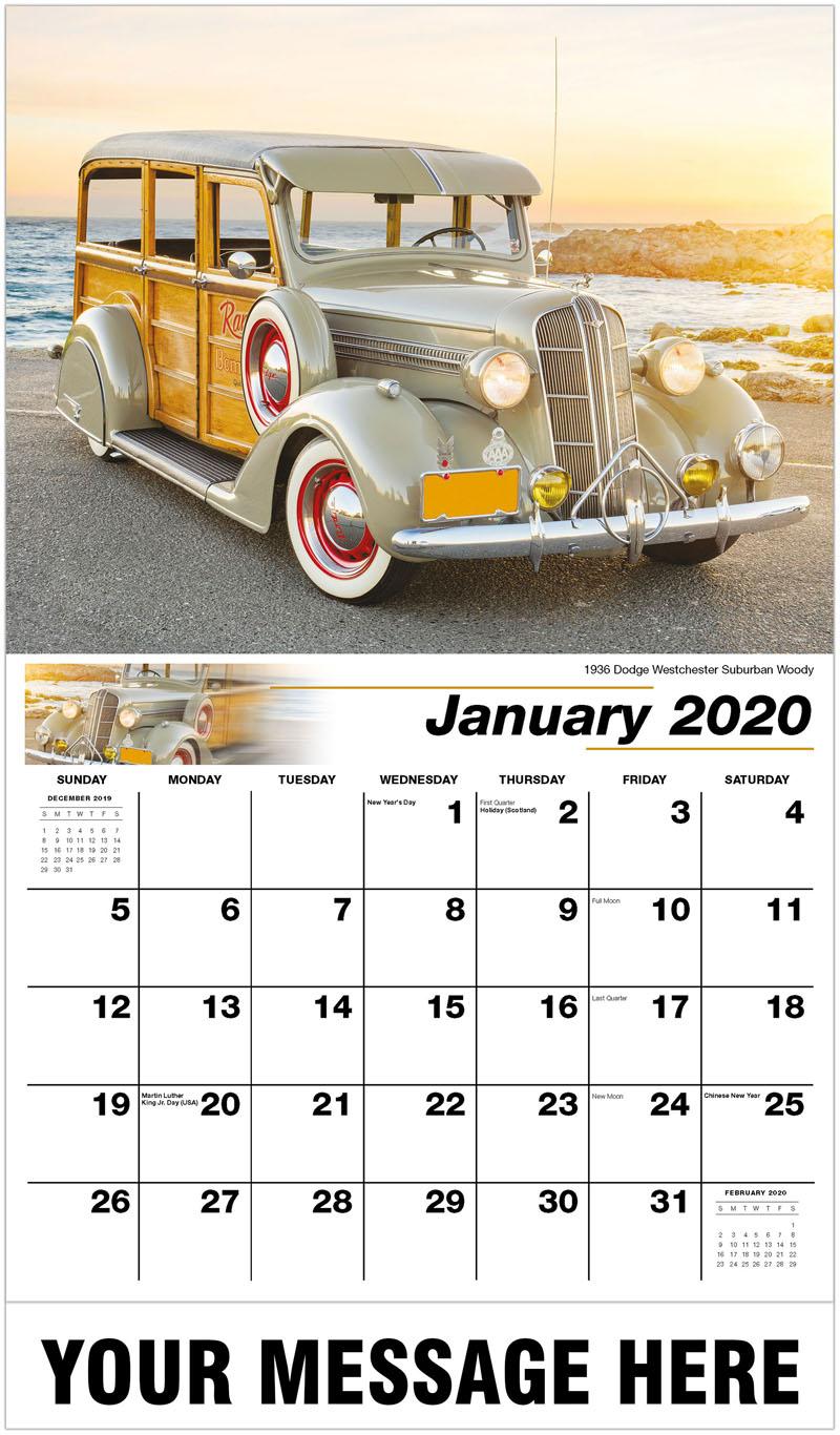 2020 Promotional Calendar - 1936 Dodge Westchester Suburban Woody - January
