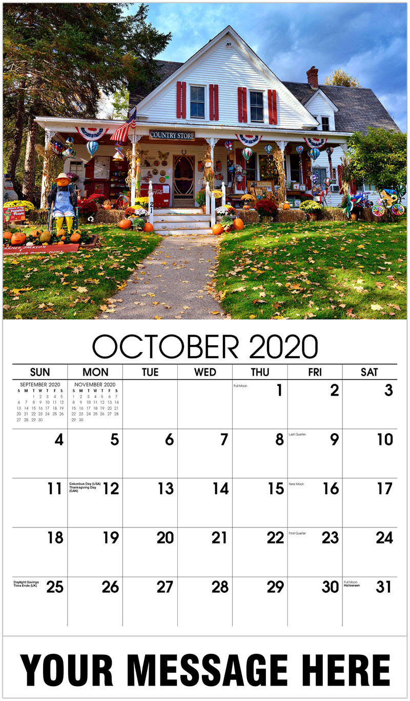 2020 Business Advertising Calendar - Country Store - October
