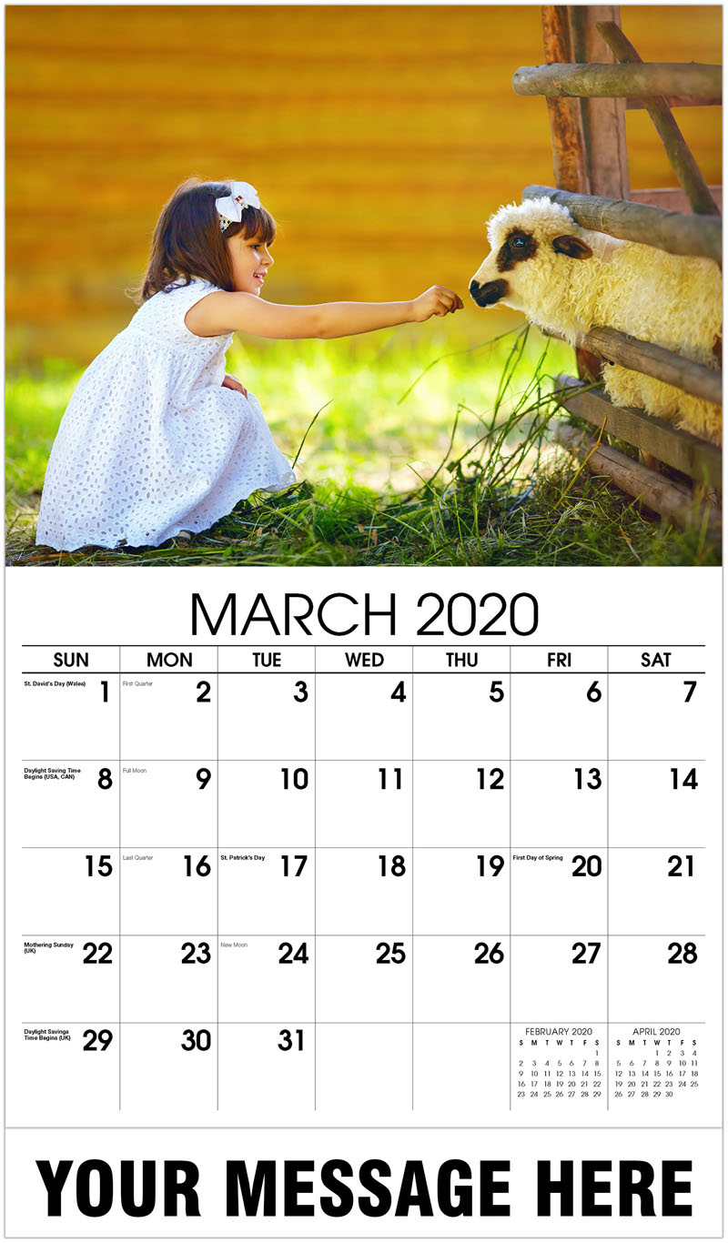 2020 Promo Calendar - Girl With Sheep - March