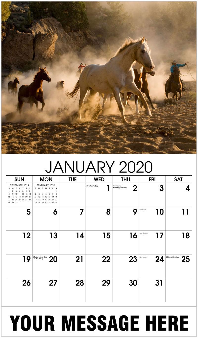 2020 Promotional Calendar - Horse Wrangling - January