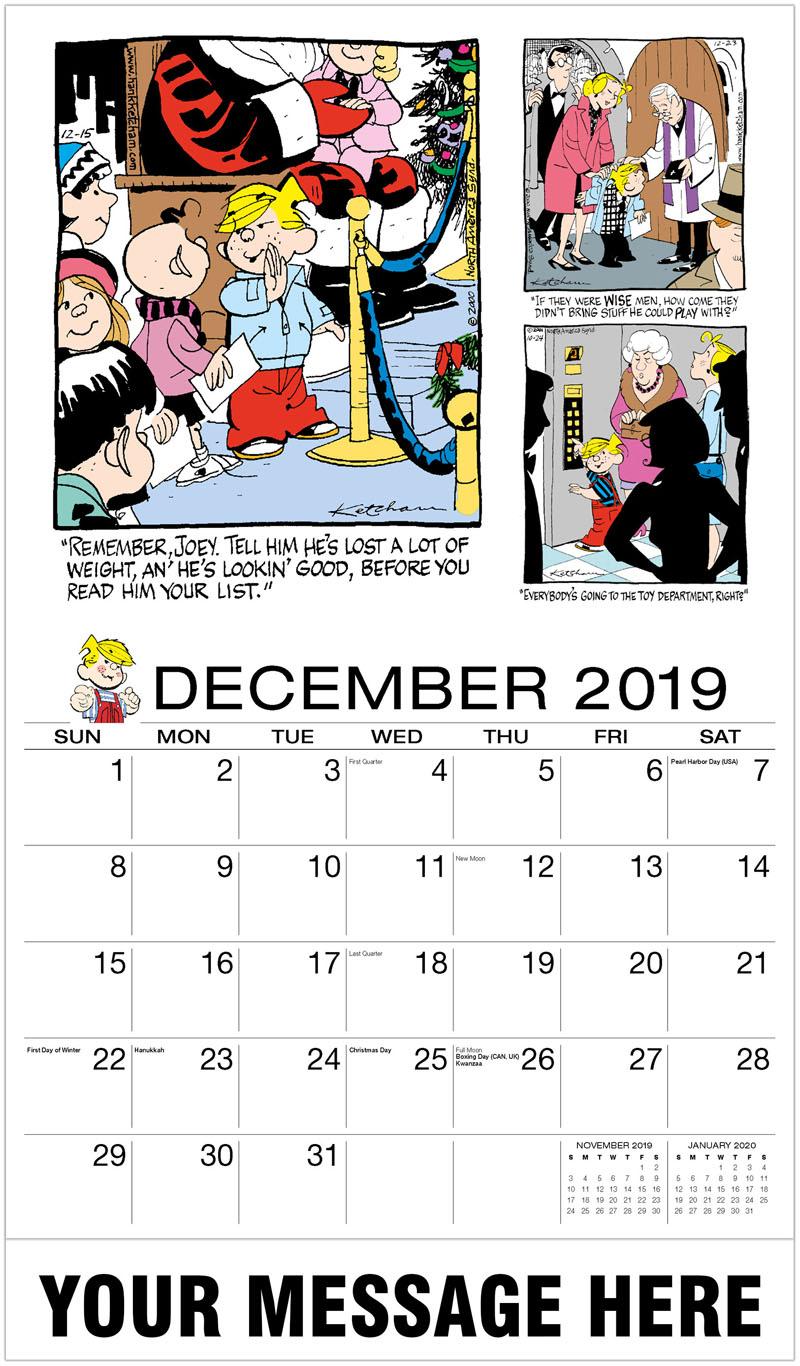 2020 Advertising Calendar - Dennis The Menace Comics - December_2019