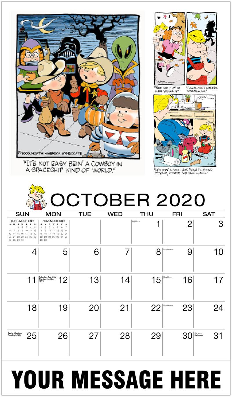 2020 Promo Calendar - Dennis The Menace Comics - October
