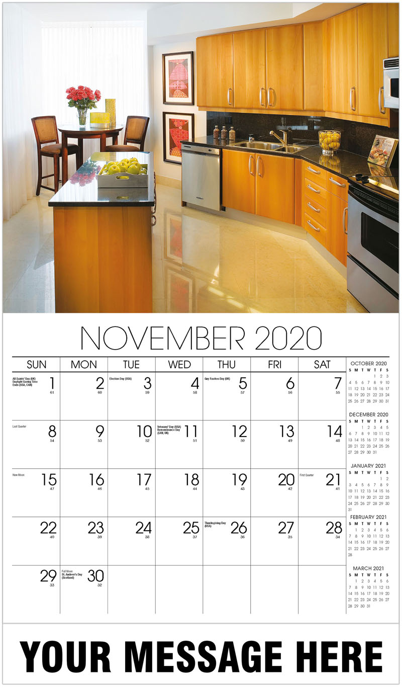 2020 Advertising Calendar - Kitchen In Condo With White Curtains - November