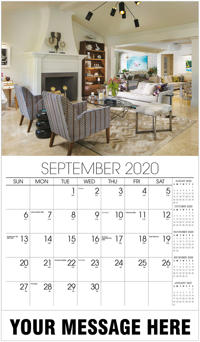 2020 Business Advertising Calendar - Living Room With White Fireplace - September