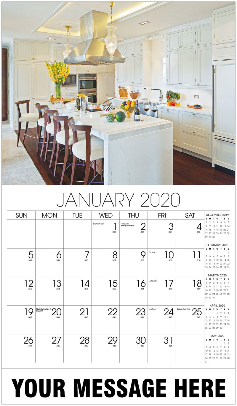 2020 Promotional Calendar - White Kitchen - January