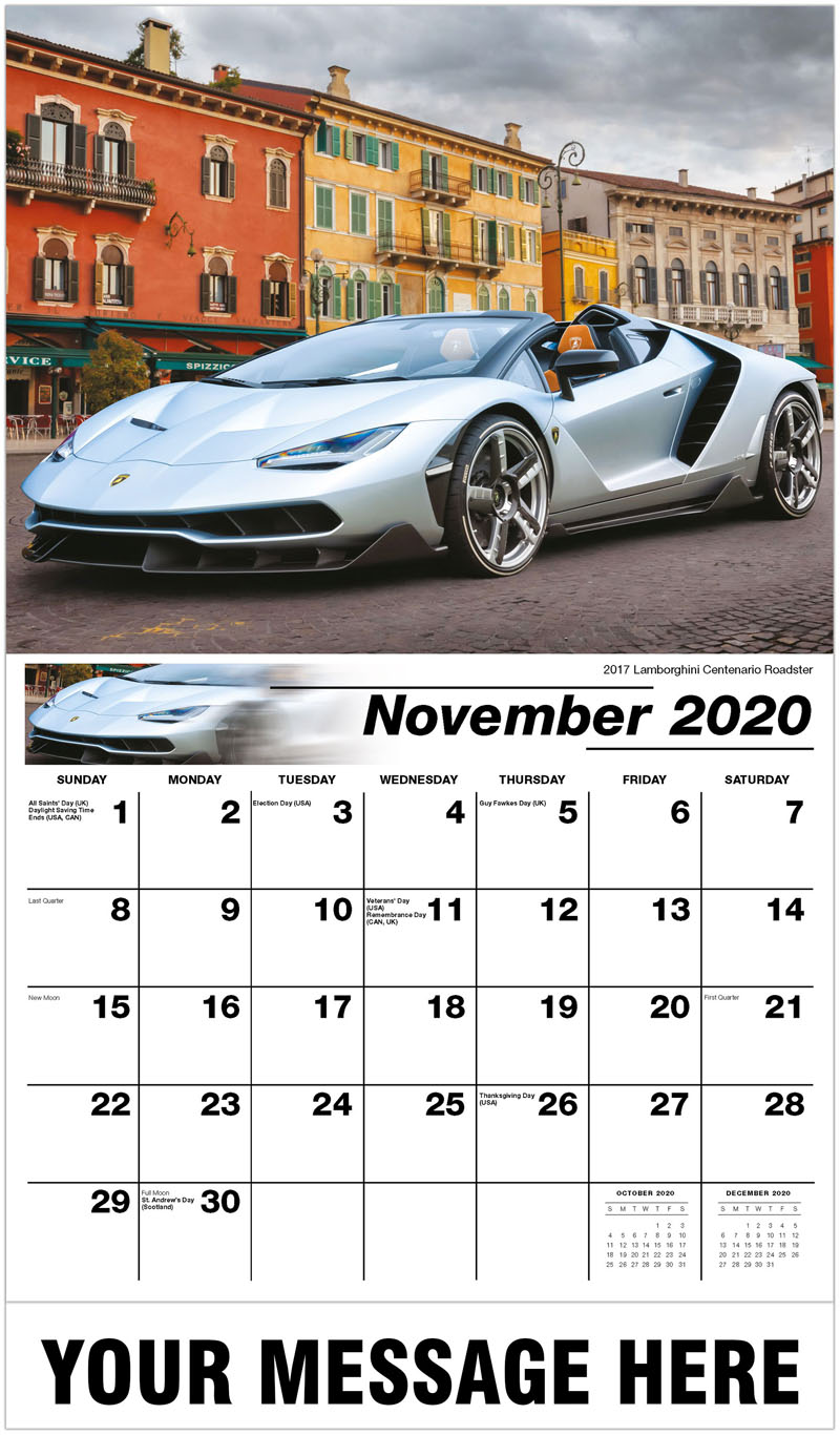 2020 Advertising Calendar - 2017 Lamborghini Centenario Roadster - November
