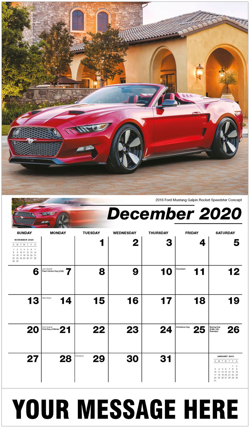 2020 Advertising Calendar - 2016 Ford Mustang Galpin Rocket Speedster Concept - December_2020