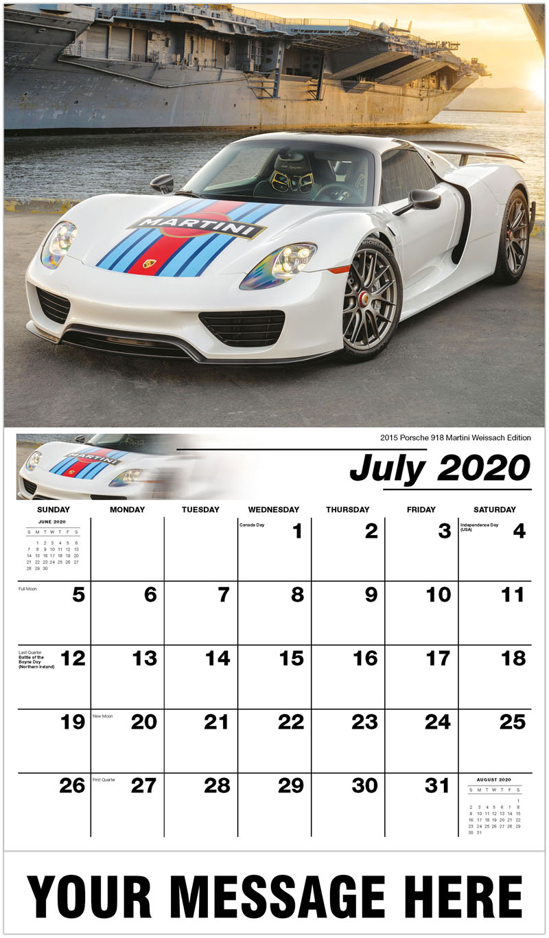 2020 Business Advertising Calendar - 2015 Porsche 918 Martini Weissach Edition - July