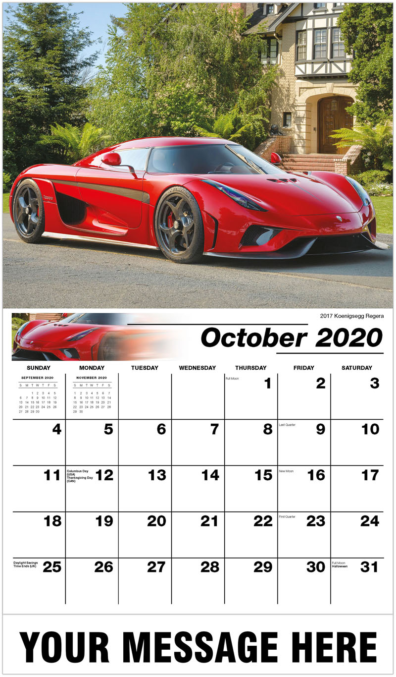 2020 Business Advertising Calendar - 2017 Koenigsegg Regera - October