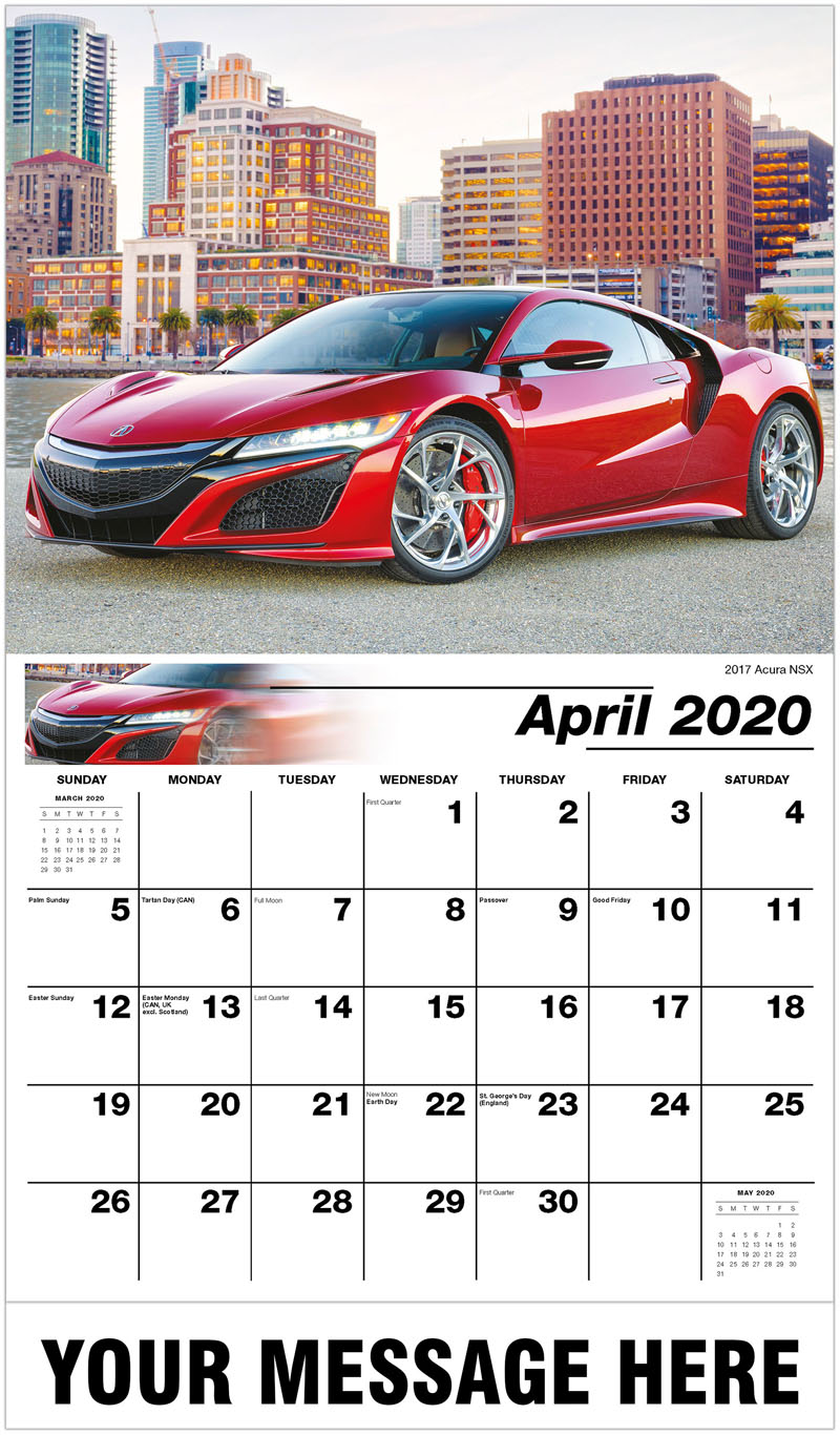 2020 Promo Calendar - 2017 Acura Nsx - April