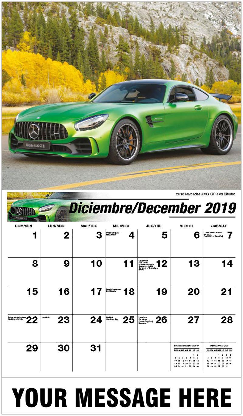 2020  Spanish-English Advertising Calendar - 2018 Mercedes Amg Gt R V8 Biturbo - December_2019