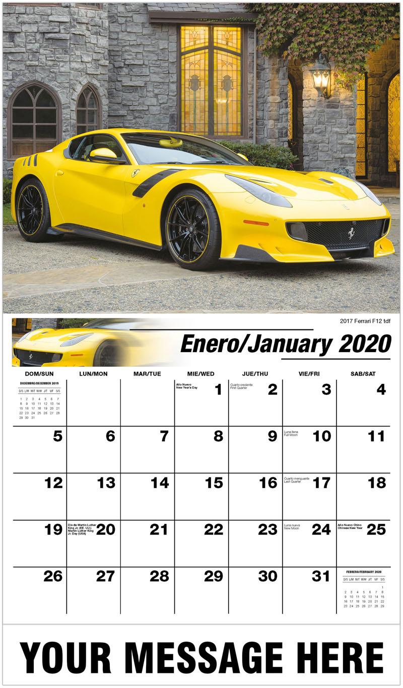 2020  Spanish-English Advertising Calendar - 2017 Ferrari F12 Tdf - January
