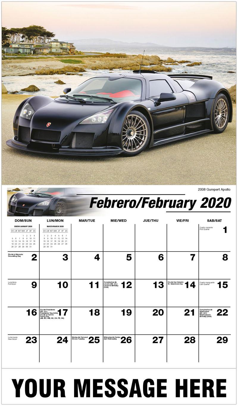 2020  Spanish-English Advertising Calendar - 2008 Gumpert Apollo - February