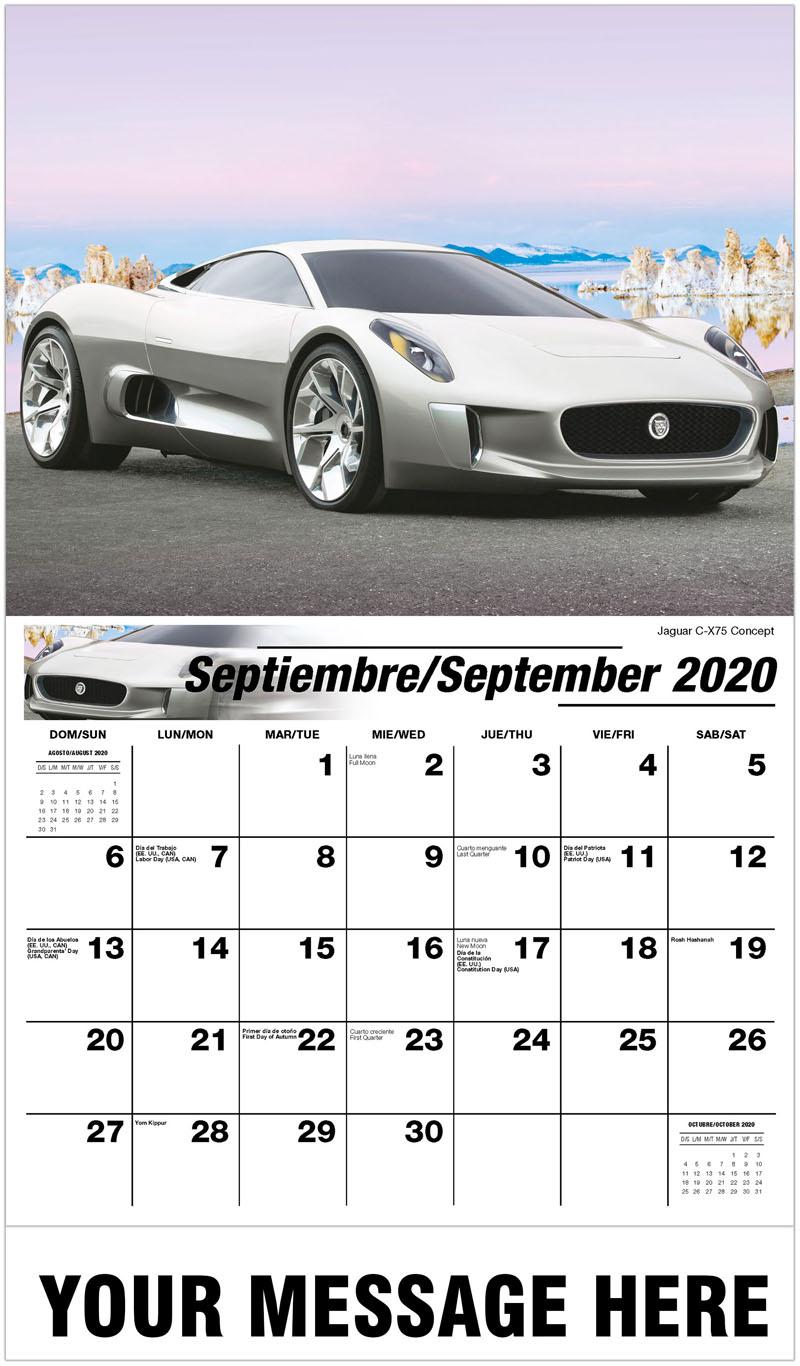2020  Spanish-English Promo Calendar - Jaguar C-X75 Concept - September