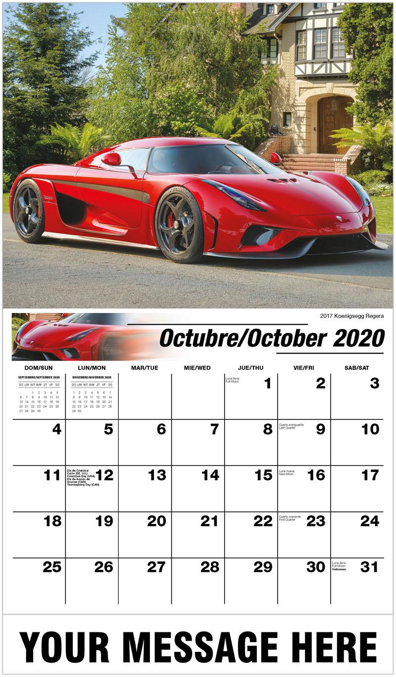 2020  Spanish-English Promo Calendar - 2017 Koenigsegg Regera - October
