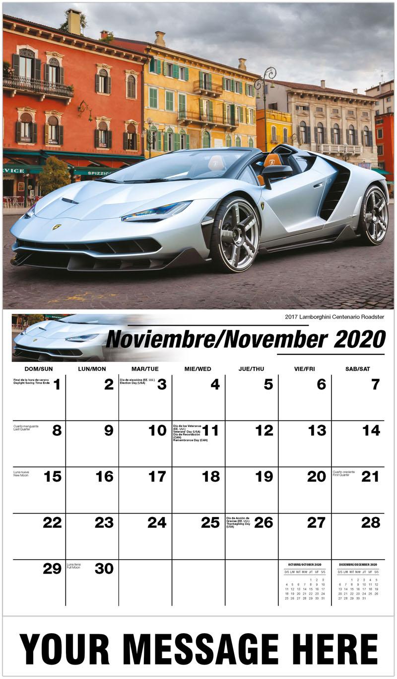 2020  Spanish-English Promo Calendar - 2017 Lamborghini Centenario Roadster - November