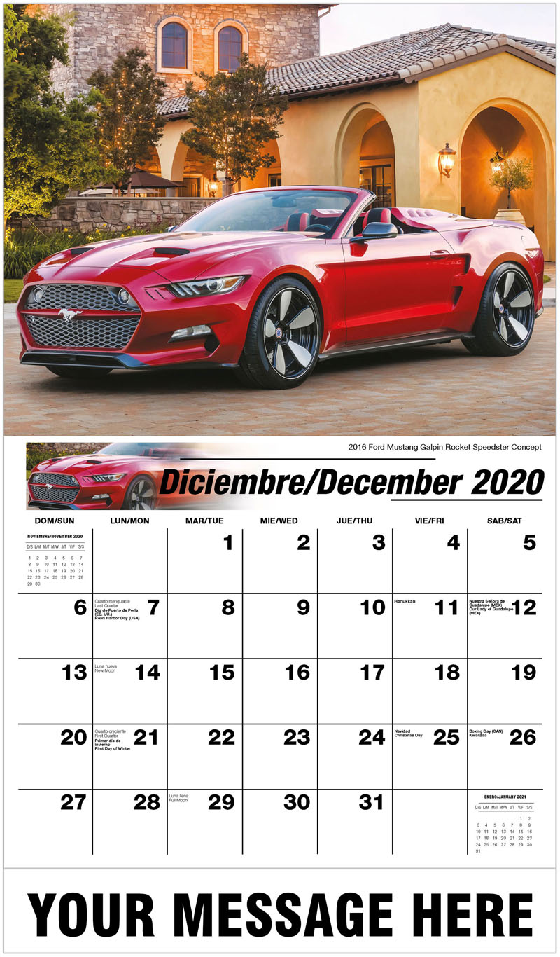 2020  Spanish-English Promo Calendar - 2016 Ford Mustang Galpin Rocket Speedster Concept - December_2020