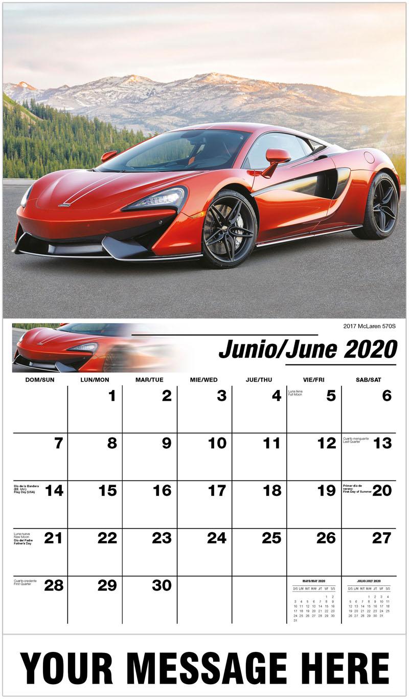 2020  Spanish-English Promotional Calendar - 2017 Mclaren 570S - June