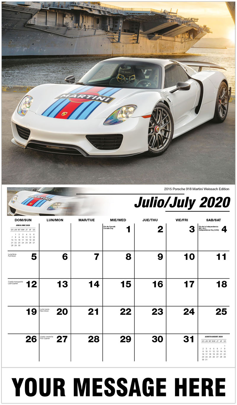 2020  Spanish-English Promotional Calendar - 2015 Porsche 918 Martini Weissach Edition - July