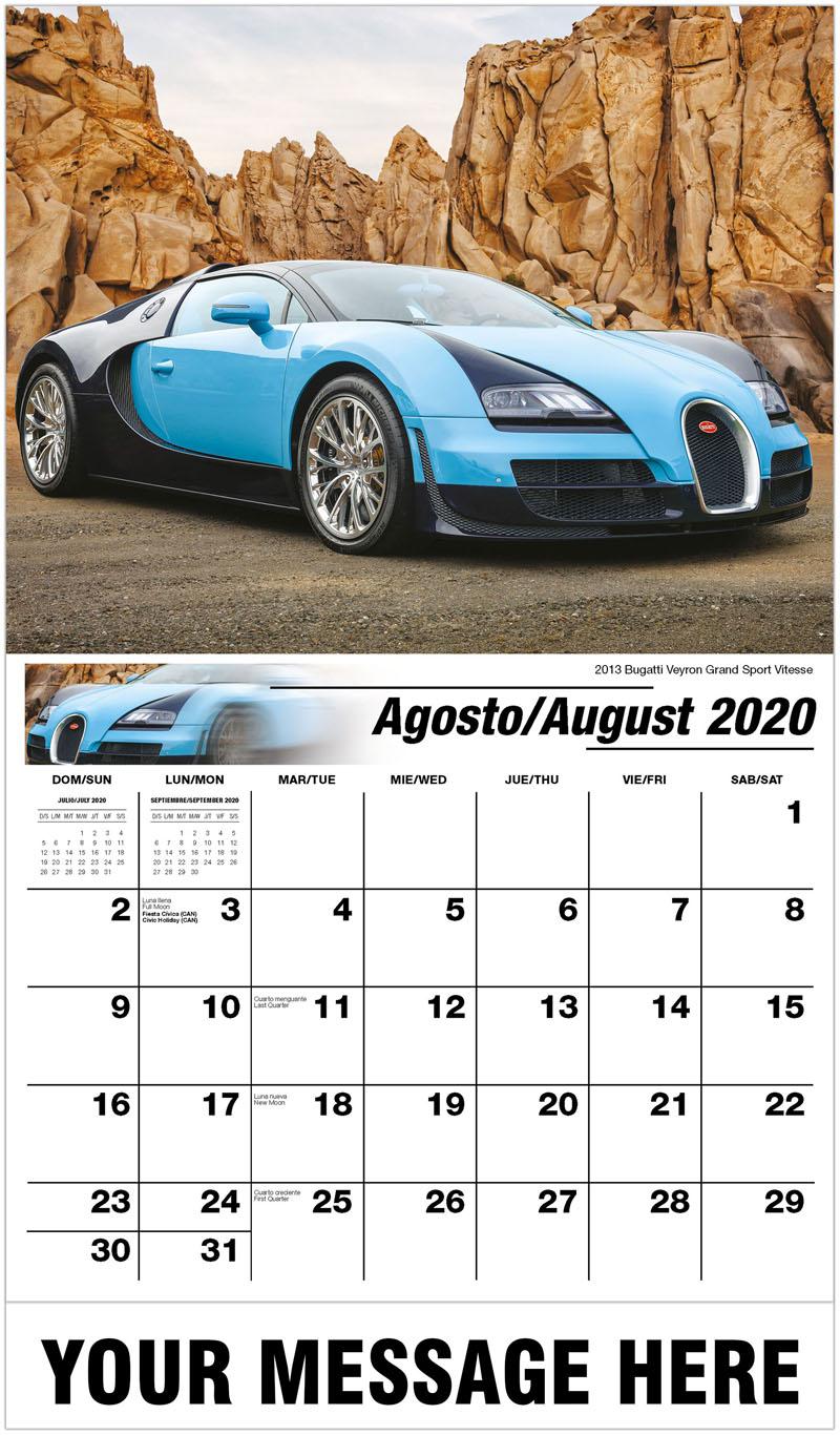 2020  Spanish-English Promotional Calendar - 2013 Bugatti Veyron Grand Sport Vitesse - August