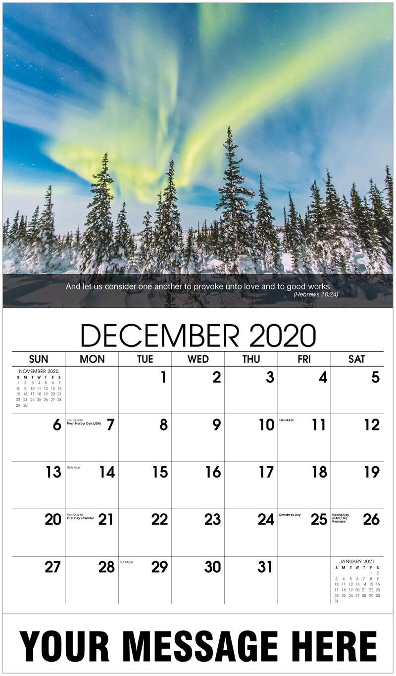 2020 Advertising Calendar - Winter Shot With Borealis - December_2020