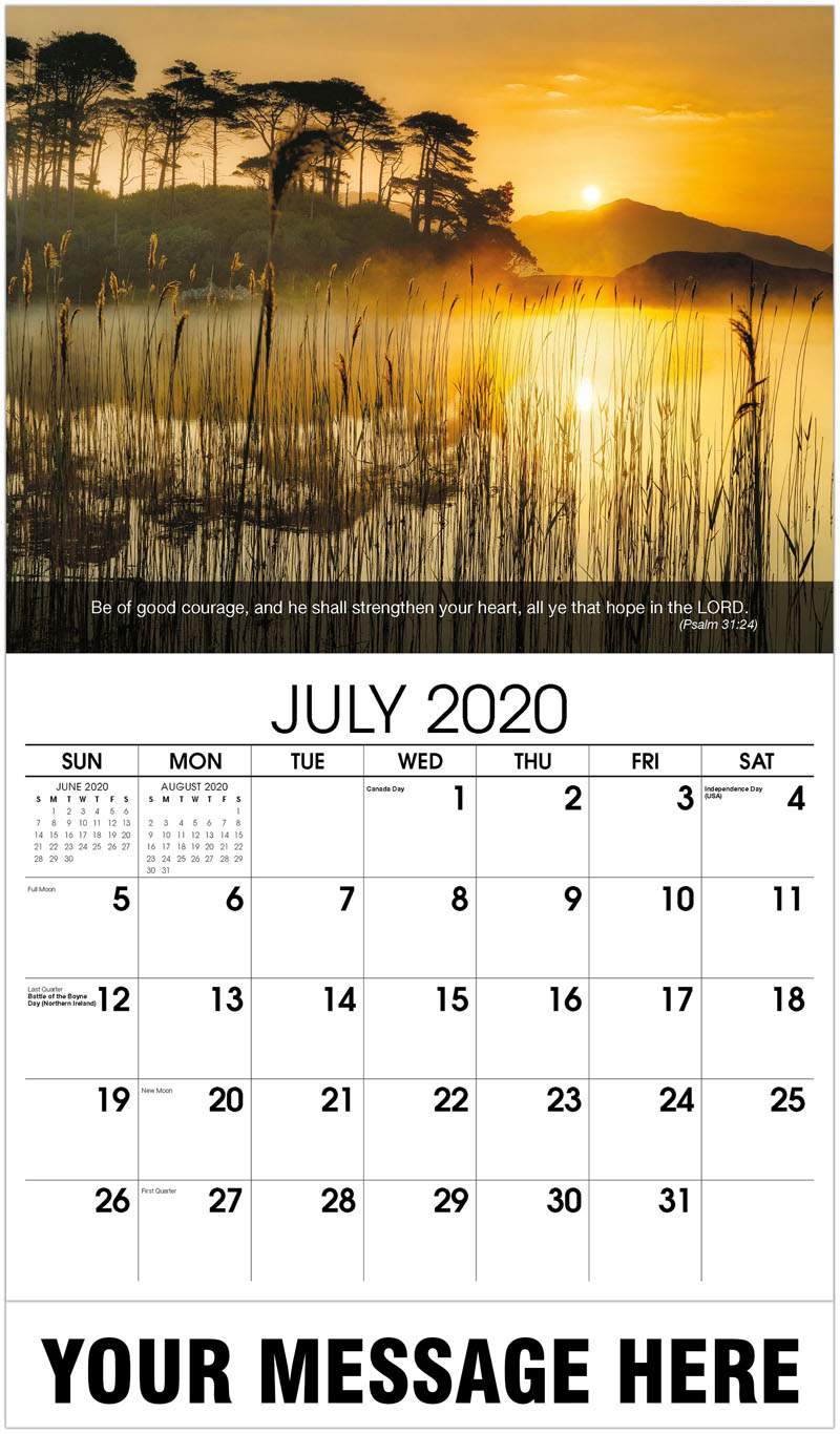 2020 Business Advertising Calendar - Water With Reeds In Front And Sunset - July
