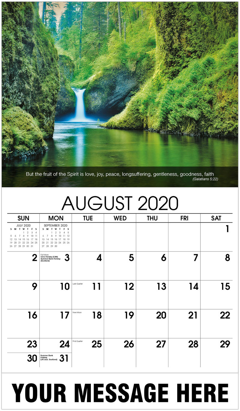 2020 Business Advertising Calendar - Waterfall - August