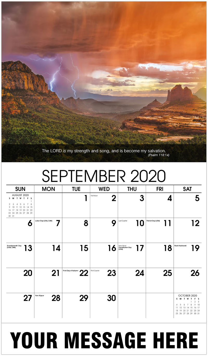 2020 Business Advertising Calendar - Lightning In Sky - September