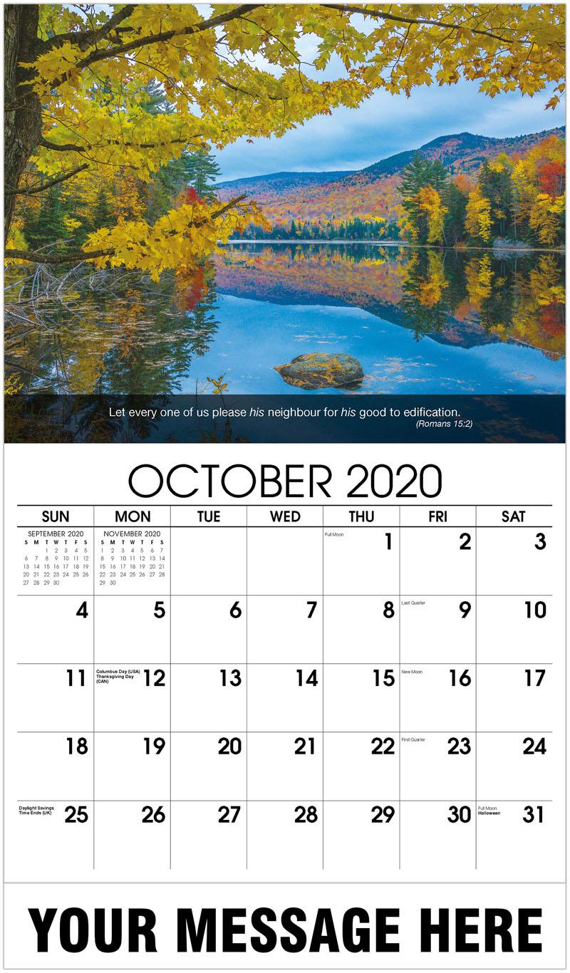 2020 Business Advertising Calendar - Lake In Fall - October