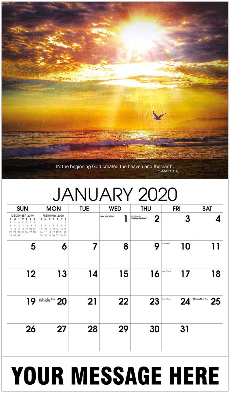 2020 Promo Calendar - Bird And Sunset - January