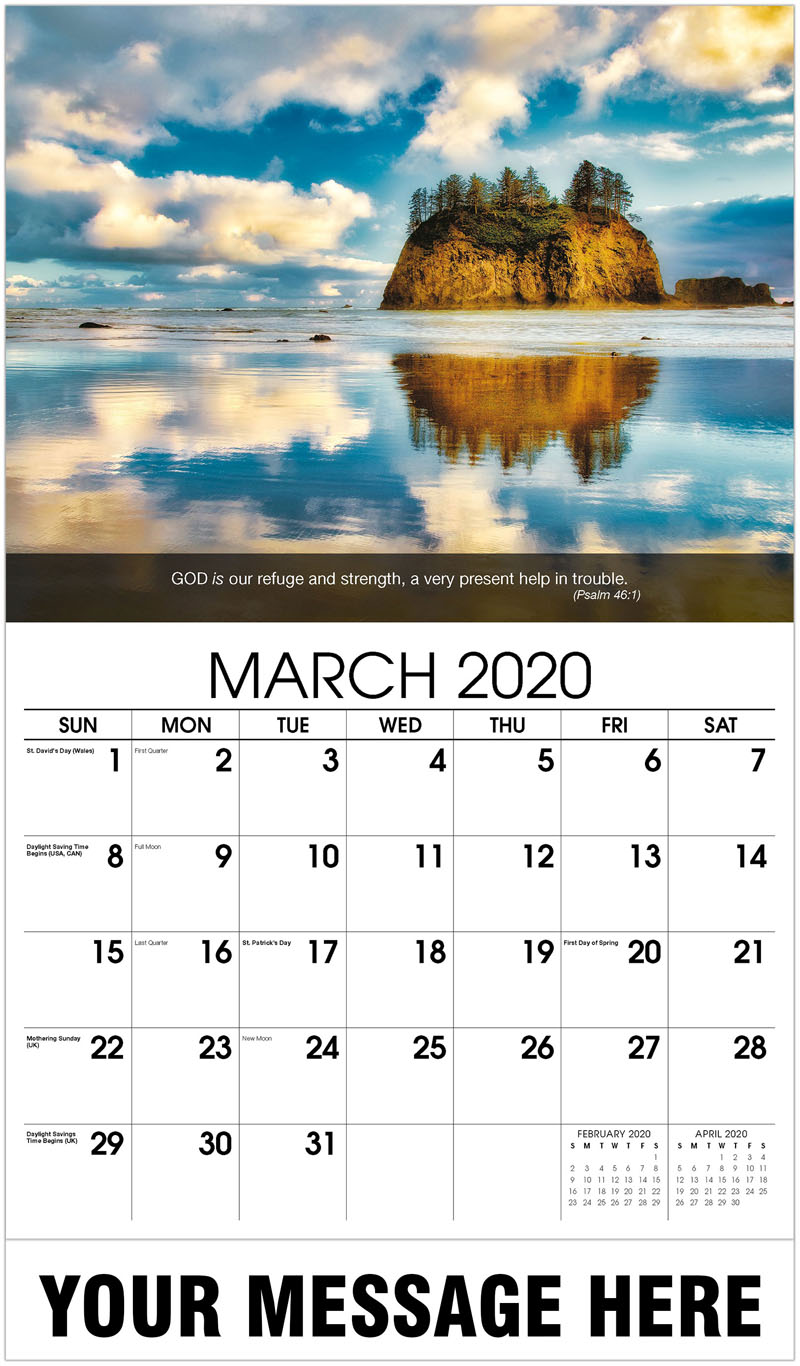 2020 Promotional Calendar - Lake With Rock Hill In Middle - March