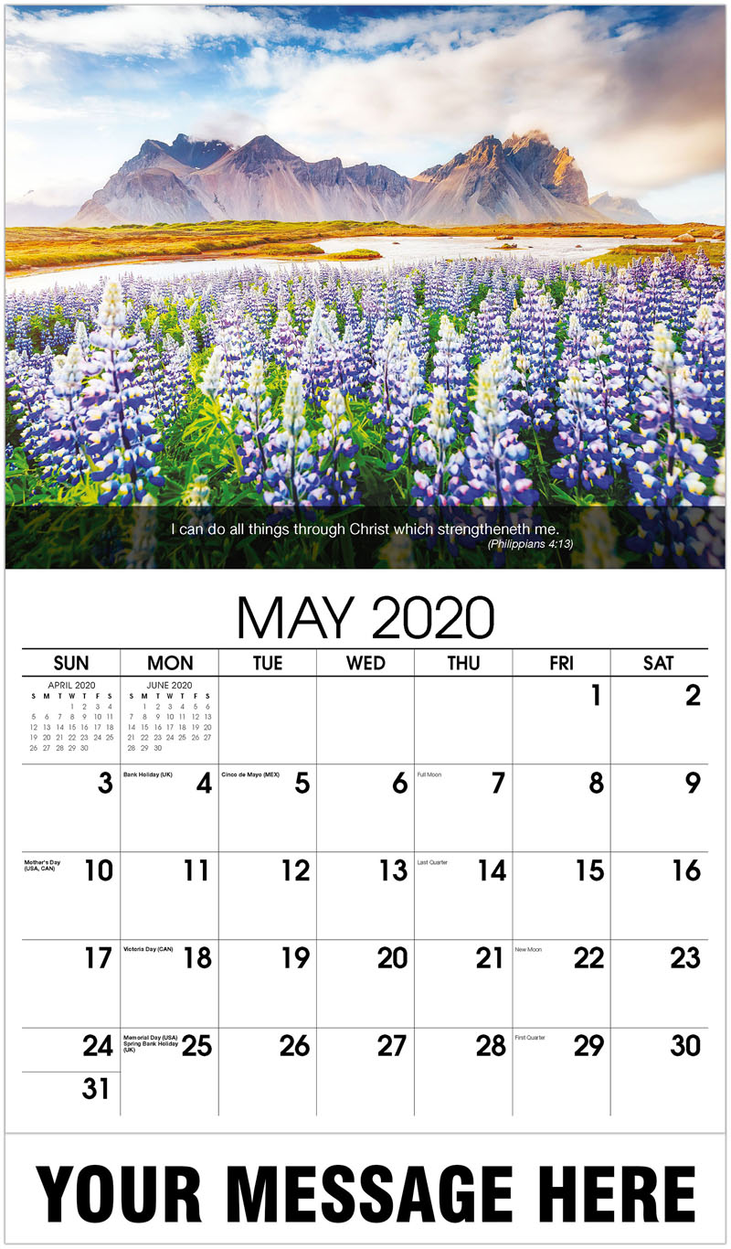 2020 Promotional Calendar - Flowers With Mountain In Back - May