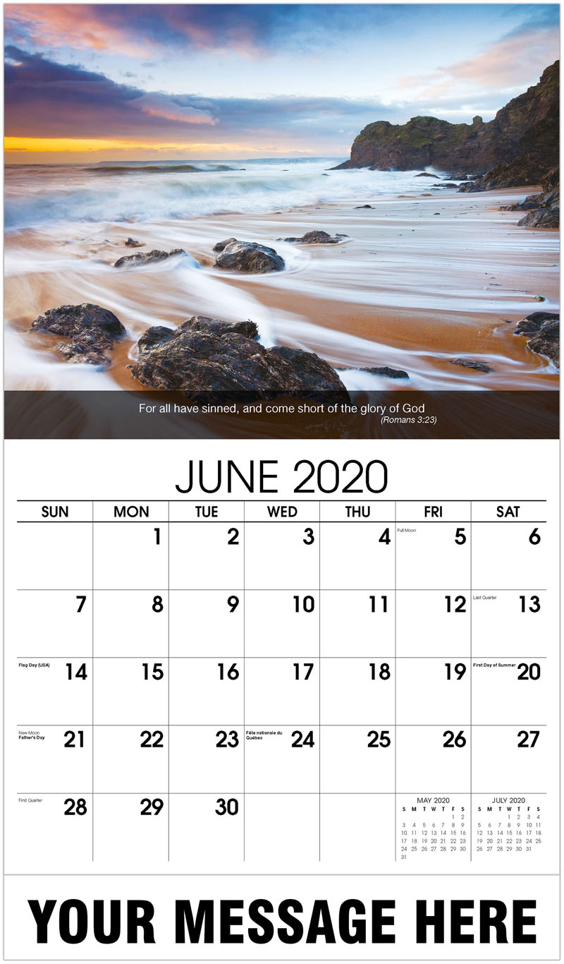 2020 Promotional Calendar - Waves On Beach At Sunset - June