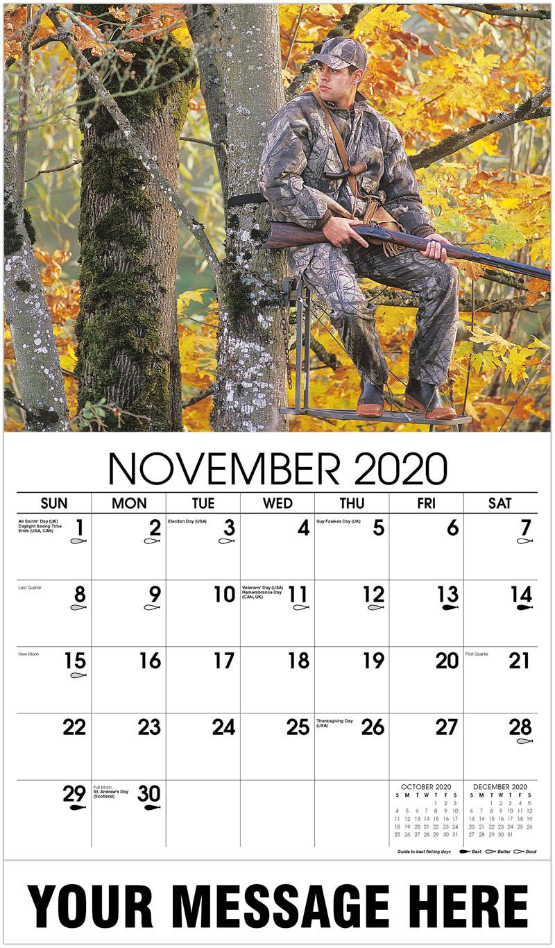 2020 Advertising Calendar - Muzzleloader Hunter Sitting In Tree Stand - November
