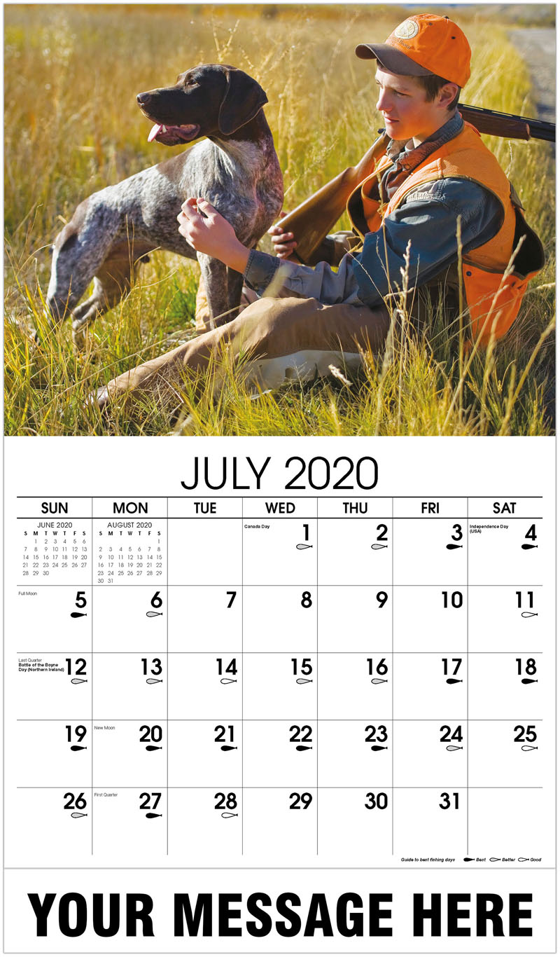 2020 Business Advertising Calendar - Hunter With German Shorthaired Pointer - July