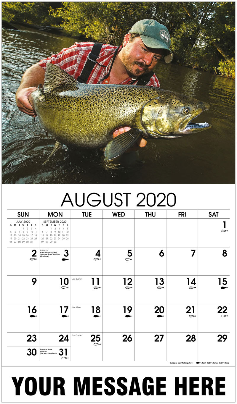 2020 Business Advertising Calendar - Fisherman With Salmon - August