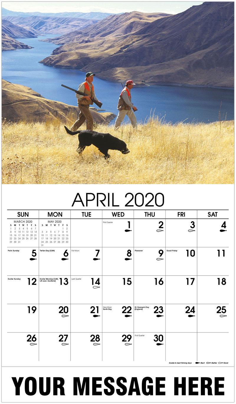 2020 Promo Calendar - Upland Bird Hunters With Black Labrador Retriever - April