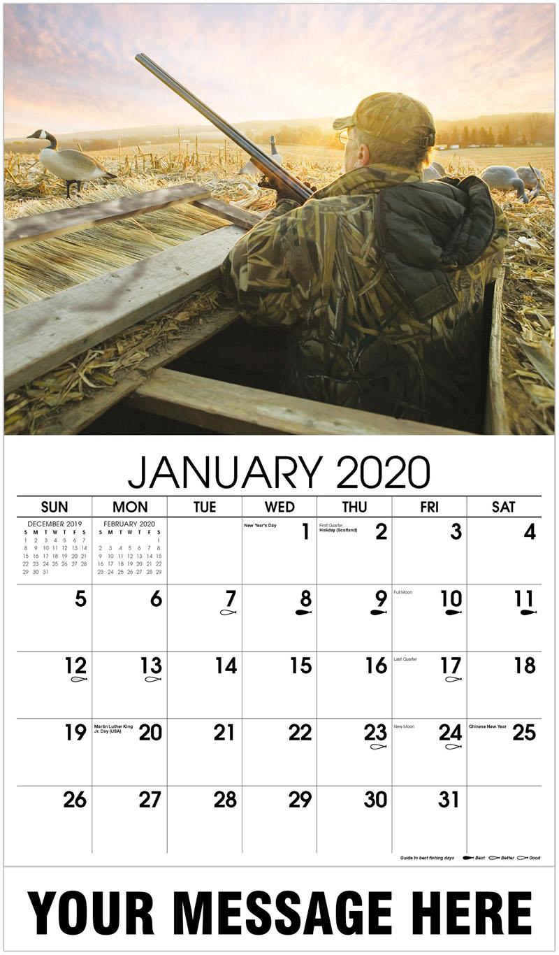 2020 Promotional Calendar - Hunter With Canada Goose Decoys - January