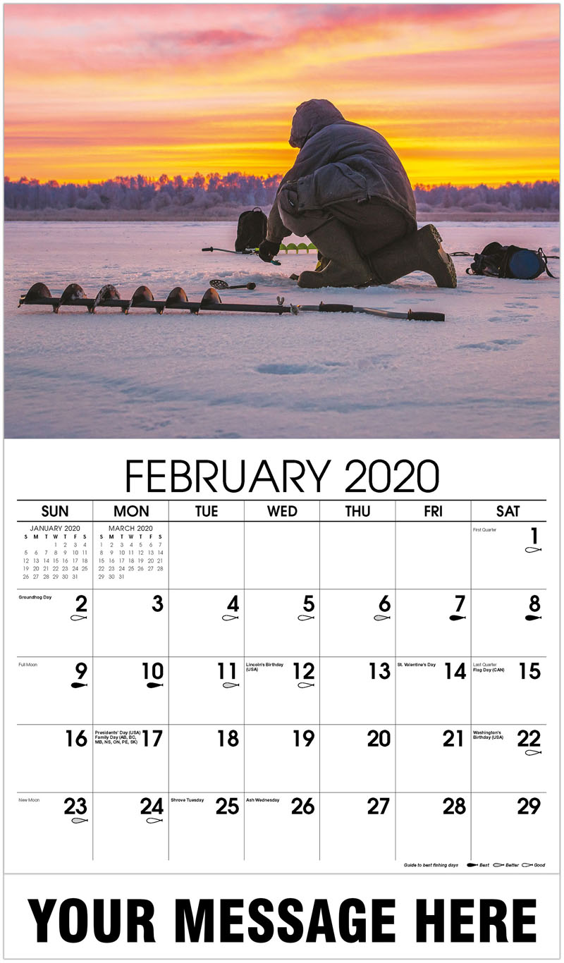 2020 Promotional Calendar - Winter Sport Ice Fishing - February