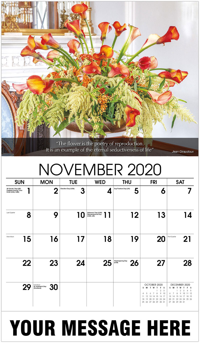 2020 Advertising Calendar - Floral Arrangements - November
