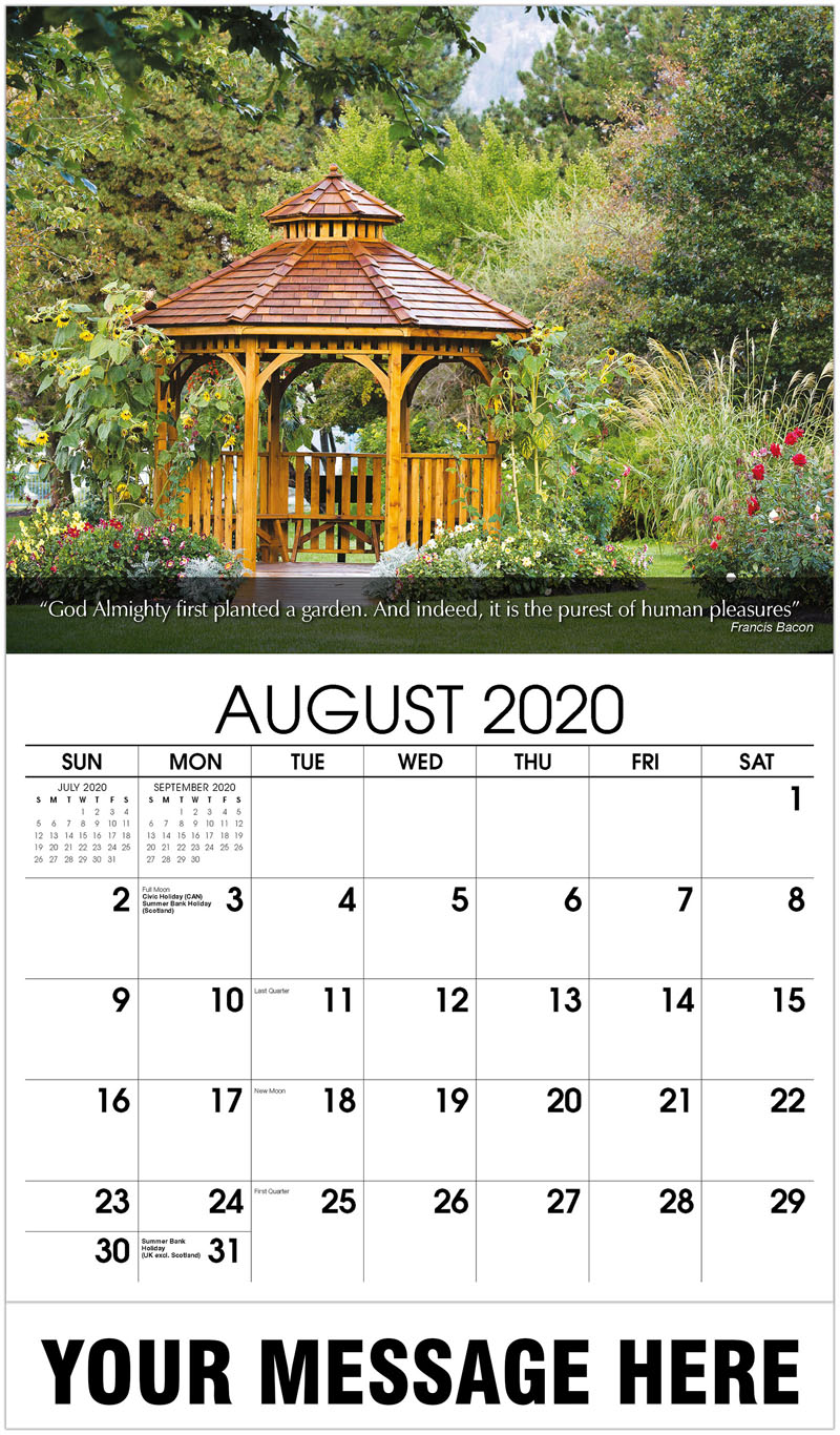 2020 Business Advertising Calendar - Cedar Gazebo Backyard Garden - August