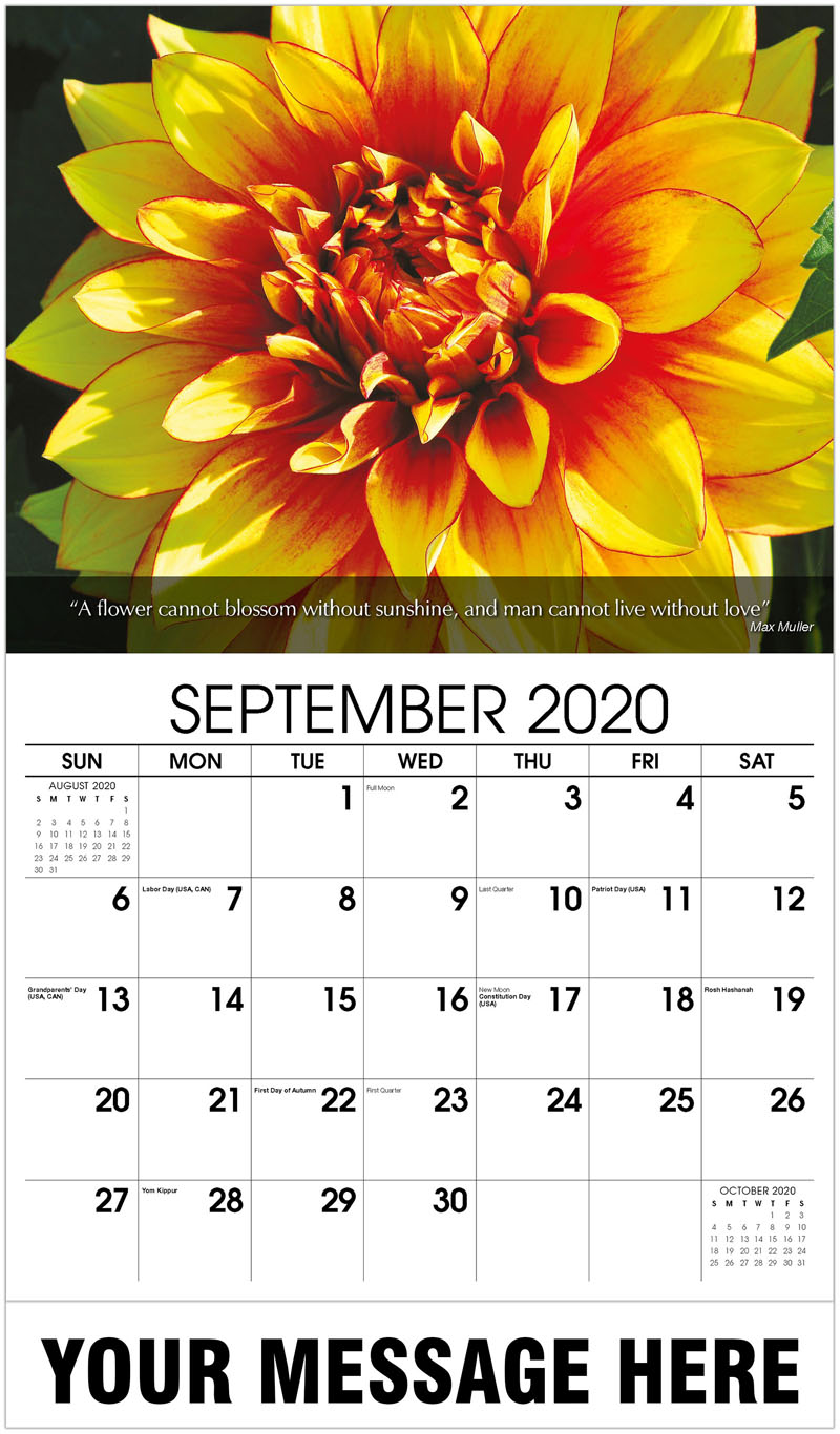 2020 Business Advertising Calendar - Dahlia Flower - September