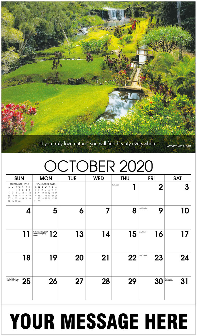 2020 Business Advertising Calendar - Gardens And Stone Dam - October